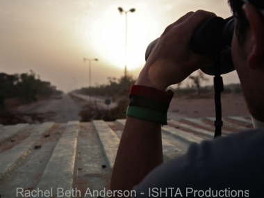 Watching for movement on the highway leading to the Gaddafi militia controlled territory