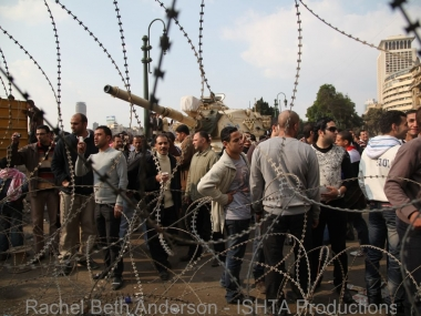 Barbed wire blocks protestors marching towards Maspero