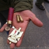 Protestor shows souvenirs form the revolution