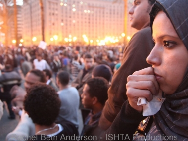 Anticipation as protestors watch the police approach with tear gas on Jan 25