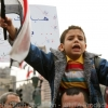 Young boy leading the chants in Tahrir