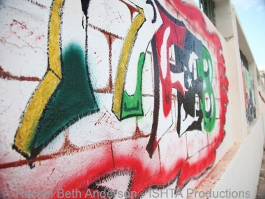 Graffiti outside Freedom Square in Misrata featuring Feb17, the start date of revolution