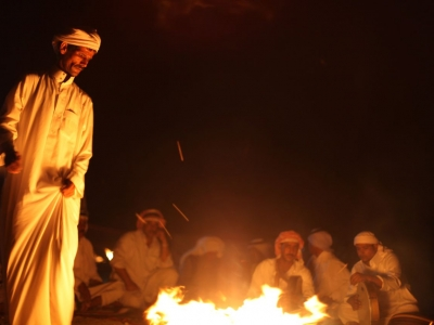 Dancing traditional Bedouin steps in Marsa Alam