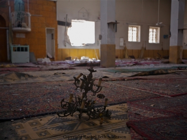 Mosque destroyed by shelling in Taftanaz during attacks that occurred while UN was negotiating for monitors with Assad.