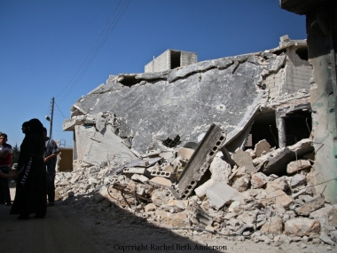 Homes reduced to rubble inside Taftanaz after attack by government forces.