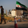 Checkpoint guarded by Free Syrian Army outside Taftanaz.
